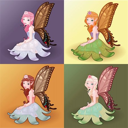 Young fairies. Funny cartoon and vector illustration. Stock Photo - Budget Royalty-Free & Subscription, Code: 400-05946927