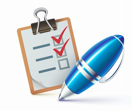 report icon - Vector illustration of a checklist on a clipboard with a elegant ballpoint pen checking off tasks Stock Photo - Budget Royalty-Free & Subscription, Code: 400-06064625