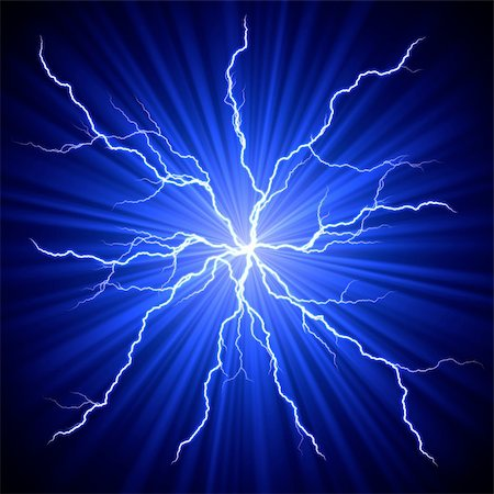sparks illustration - electrical white blue lightnings fireball over dark background Stock Photo - Budget Royalty-Free & Subscription, Code: 400-06064834