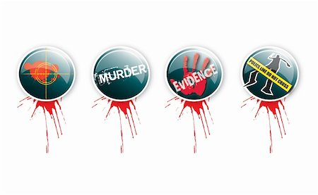 A set of four round glass effect buttons with a crime theme. Themed illustrations to each button with grunge effect type and blood splatter. For web or print use. Stock Photo - Budget Royalty-Free & Subscription, Code: 400-06065157