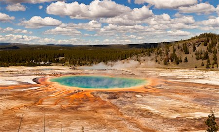The Grand Prismatic Spring in Yellowstone National Park is the third largest hot spring in the world. With patterns of algae radiating from the dark blue pool, it is a colorful view. Stock Photo - Budget Royalty-Free & Subscription, Code: 400-06065202