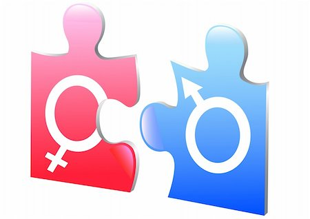 vector drawing puzzle on gender relations Stock Photo - Budget Royalty-Free & Subscription, Code: 400-06065607