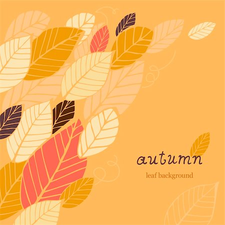 plant leaf paintings graphic - Autumn orange background with hand-drawn leafs and text Stock Photo - Budget Royalty-Free & Subscription, Code: 400-06066227