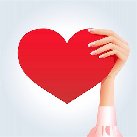 simsearch:400-04863562,k - Tender pale pinky girl's hand holding bright red heart Stock Photo - Budget Royalty-Free & Subscription, Code: 400-06066269