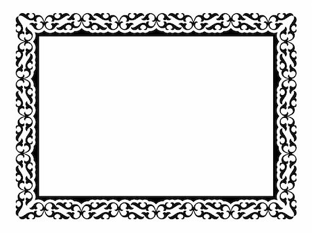 Vector simple calligraph ornamental decorative frame pattern Stock Photo - Budget Royalty-Free & Subscription, Code: 400-06066364