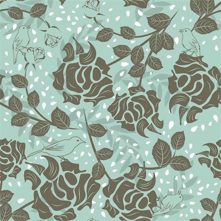 Seamless vector floral pattern. For easy making seamless pattern just drag all group into swatches bar, and use it for filling any contours. Stock Photo - Budget Royalty-Free & Subscription, Code: 400-06066419