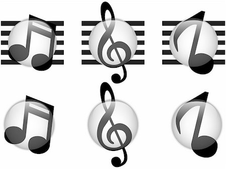 Vector - Set of Music Notes Glass Button Stock Photo - Budget Royalty-Free & Subscription, Code: 400-06066452
