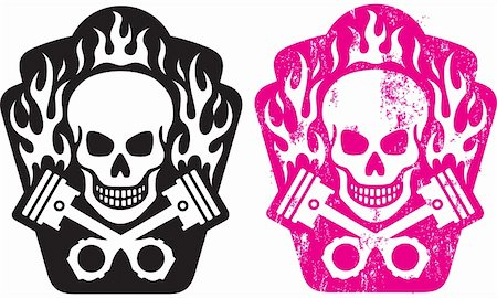 Vector illustration of skull and crossed pistons with flames. Includes clean and grunge versions. Easy to edit colors and shapes. Stock Photo - Budget Royalty-Free & Subscription, Code: 400-06066520