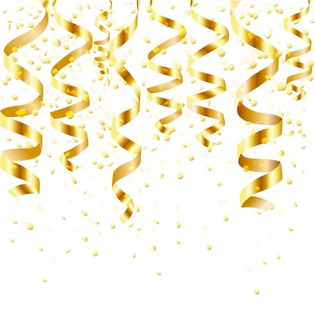 fun happy colorful background images - Gold Curling Stream, Isolated On White Background, Vector Illustration Stock Photo - Budget Royalty-Free & Subscription, Code: 400-06066754