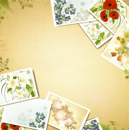 peony illustrations - Vintage floral background with some flower photos, copyspace for your text Stock Photo - Budget Royalty-Free & Subscription, Code: 400-06066817