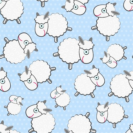 Cute White Sheeps Seamless Pattern on Light Blue Background Stock Photo - Budget Royalty-Free & Subscription, Code: 400-06067292