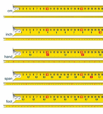 tape measure in cm, cm and inch, cm and hand, cm and span, cm and foot - vector illustration Stock Photo - Budget Royalty-Free & Subscription, Code: 400-06067403