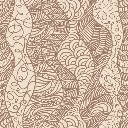 drawn curved - Hand drawn seamless pattern with various elements, lines, waves Stock Photo - Budget Royalty-Free & Subscription, Code: 400-06067578