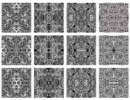 Set of 20 monochrome modern seamless patterns. Group of patterns in black and white. Stock Photo - Budget Royalty-Free & Subscription, Code: 400-06067580