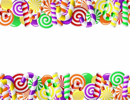 red circle lollipop - Frame made of colorful candies. Seamless pattern Stock Photo - Budget Royalty-Free & Subscription, Code: 400-06067772