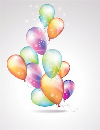 party celebration paper confetti - Card to birthday, with balloons Stock Photo - Budget Royalty-Free & Subscription, Code: 400-06067794
