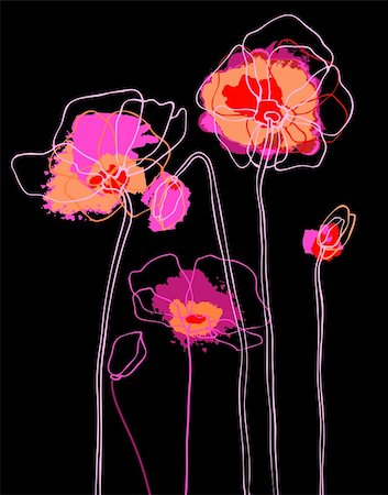 Pink poppies on black background. Vector illustration Stock Photo - Budget Royalty-Free & Subscription, Code: 400-06068581
