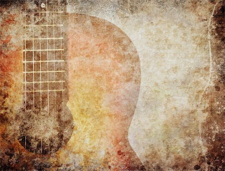 sheet music background - Grunge background with red guitar Stock Photo - Budget Royalty-Free & Subscription, Code: 400-06068659
