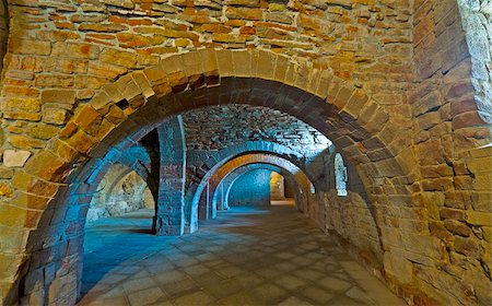 Vaulted Dungeon Royal Monastery in Aragon, Spain Stock Photo - Budget Royalty-Free & Subscription, Code: 400-06069034