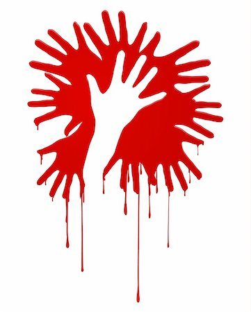 dripping blood - Abstract bloody hands. Illustration on white background Stock Photo - Budget Royalty-Free & Subscription, Code: 400-06069038