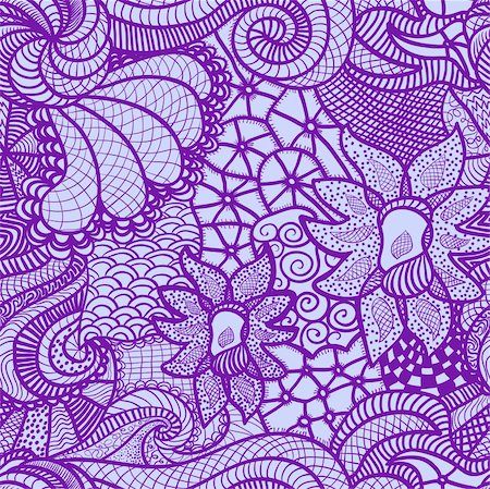 drawn curved - Hand drawn seamless pattern with various elements, flowers, waves Stock Photo - Budget Royalty-Free & Subscription, Code: 400-06069047