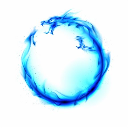 Abstract blue fiery dragon. Illustration on white background for design. Stock Photo - Budget Royalty-Free & Subscription, Code: 400-06069041
