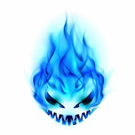 smoke magic abstract - Blue Evil burning Halloween symbol. Illustration on white background Stock Photo - Budget Royalty-Free & Subscription, Code: 400-06069043