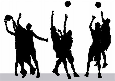 Vector graphic basketball. Silhouette man with ball Stock Photo - Budget Royalty-Free & Subscription, Code: 400-06069165