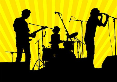Vector image of musical group and audience Stock Photo - Budget Royalty-Free & Subscription, Code: 400-06069172