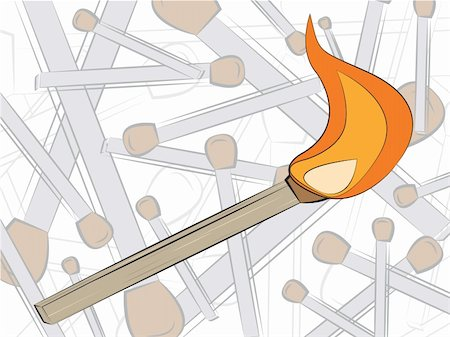 match in fire drawing, vector illustration Stock Photo - Budget Royalty-Free & Subscription, Code: 400-06069214
