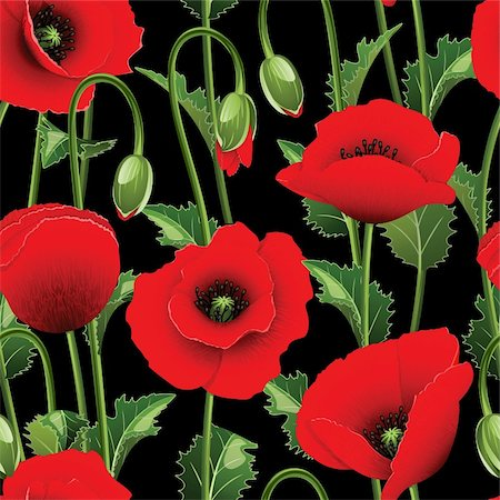 Seamless from red poppies and green leaves.Clipping Mask.(can be repeated and scaled in any size) Stock Photo - Budget Royalty-Free & Subscription, Code: 400-06069359