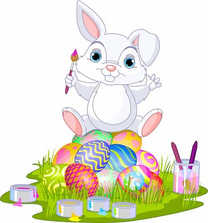 Cute Easter bunny sitting on eggs Stock Photo - Budget Royalty-Free & Subscription, Code: 400-06069561