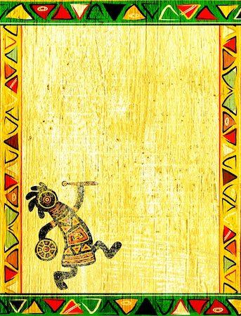 Dancing musician. Grunge background with African traditional patterns Stock Photo - Budget Royalty-Free & Subscription, Code: 400-06069759