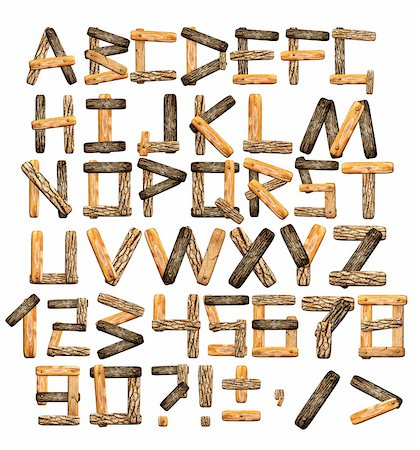 Alphabet - letters from wooden boards and bark Stock Photo - Budget Royalty-Free & Subscription, Code: 400-06069752