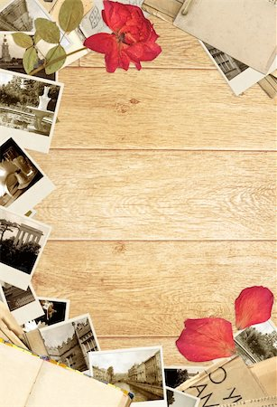Grunge background with old book and photos Stock Photo - Budget Royalty-Free & Subscription, Code: 400-06069763