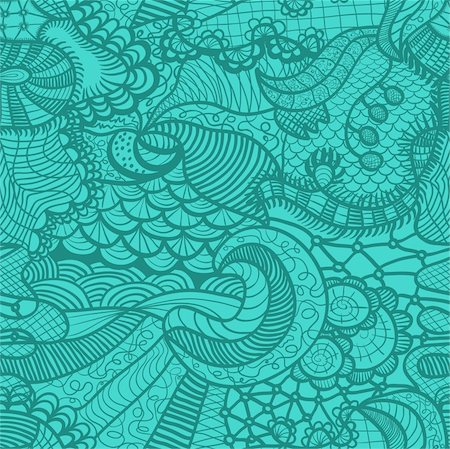 drawn curved - Hand drawn seamless pattern with various elements, flowers, waves Stock Photo - Budget Royalty-Free & Subscription, Code: 400-06069860