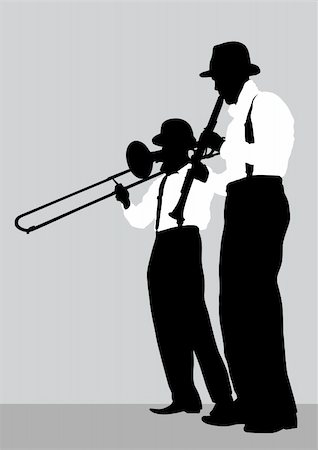 Vector drawing of a mans with trombone and clarinet on stage Stock Photo - Budget Royalty-Free & Subscription, Code: 400-06069968