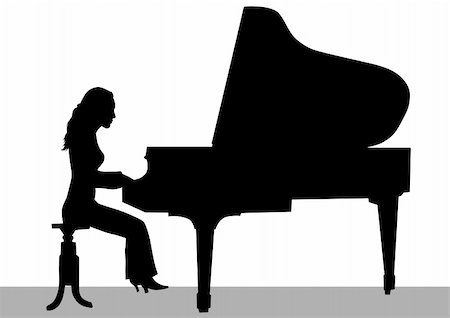 Vector drawing of a woman playing piano on stage Stock Photo - Budget Royalty-Free & Subscription, Code: 400-06069969