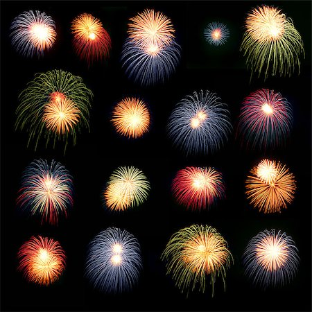 Brightly colorful fireworks and salute of various colors in the night sky Stock Photo - Budget Royalty-Free & Subscription, Code: 400-06060071