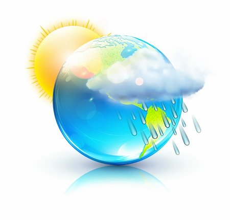 Vector illustration of cool single weather icon â?? blue globe with sun, raincloud and raindrops Stock Photo - Budget Royalty-Free & Subscription, Code: 400-06061770