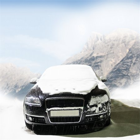car in the winter on the road Stock Photo - Budget Royalty-Free & Subscription, Code: 400-06061808
