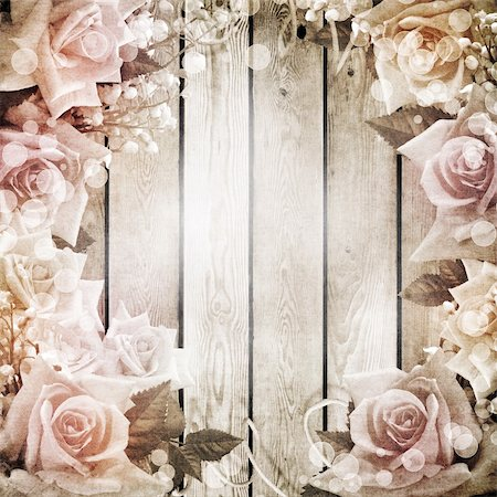 Wedding vintage romantic background with roses Stock Photo - Budget Royalty-Free & Subscription, Code: 400-06063388