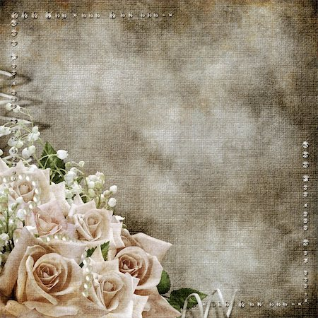 Wedding vintage romantic background with roses Stock Photo - Budget Royalty-Free & Subscription, Code: 400-06063389