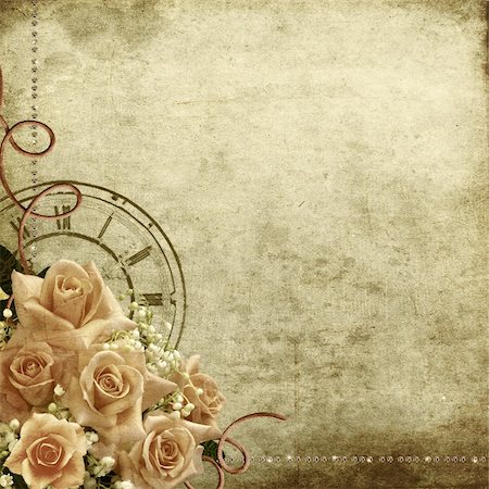 Wedding vintage romantic background with roses and clock Stock Photo - Budget Royalty-Free & Subscription, Code: 400-06063393