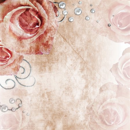 Beautiful  wedding background with roses and pearls Stock Photo - Budget Royalty-Free & Subscription, Code: 400-06063403