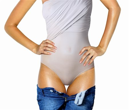 part of woman body in underwear and jeans Stock Photo - Budget Royalty-Free & Subscription, Code: 400-06063625