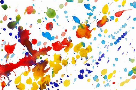 spot paint - Abstract colorful watercolor splashes isolated on white background Stock Photo - Budget Royalty-Free & Subscription, Code: 400-06063875