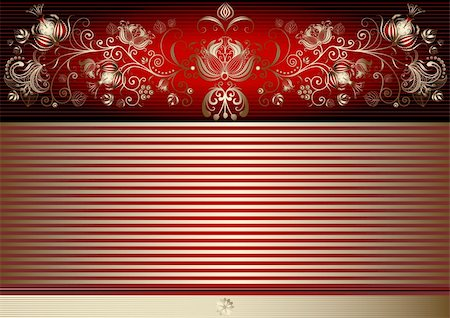 Gold and red easter elegance card with golden strips and vintage border (vector) Stock Photo - Budget Royalty-Free & Subscription, Code: 400-06074321