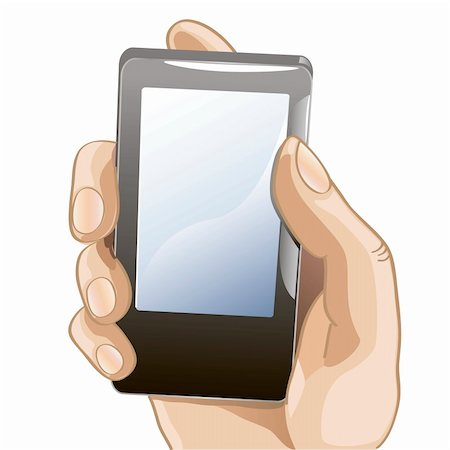 illustration of mobile phone in the hand Stock Photo - Budget Royalty-Free & Subscription, Code: 400-06074868