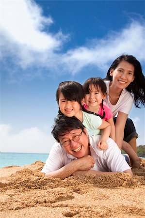 family fun day background - happy family on the beach Stock Photo - Budget Royalty-Free & Subscription, Code: 400-06074907